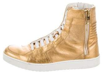Gucci Gold-Tone Metallic High-Top Sneakers