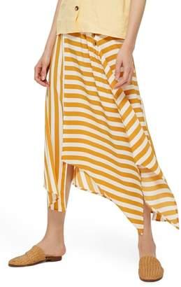 Topshop Humbug Button Handkerchief Hem Midi Skirt