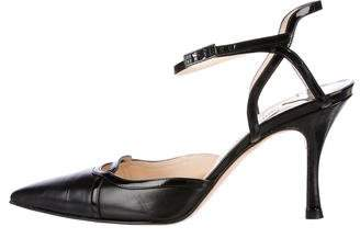 Jimmy Choo Square-Toe Ankle Strap Pumps