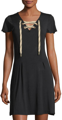 kensie Short-Sleeve Lace-Up Dress $49 thestylecure.com
