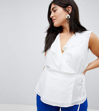 Fashion Union Plus Wrap Top With Ruffle Detail