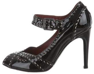 Bottega Veneta Patent Leather Peep-Toe Pumps