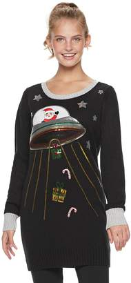 It's Our Time Its Our Time Juniors' Santa UFO Tunic Christmas Sweater