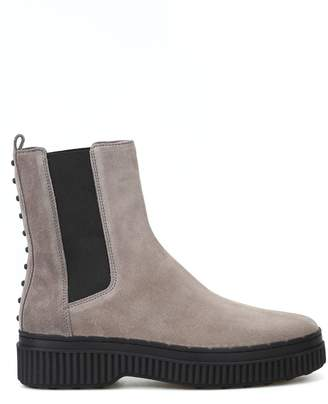 Tod's Pull-on Suede Ankle Boots With Pebbles