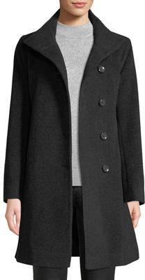 Fleurette Asymmetric Button-Front Pea Coat