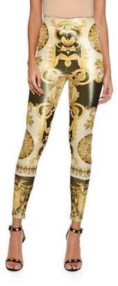 Versace Metallic Baroque-Print Leggings