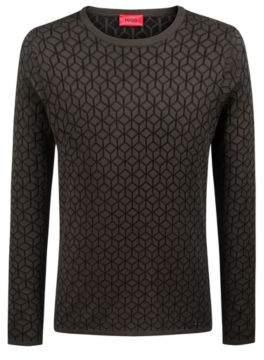 HUGO Boss Slim-fit sweater in knitted jacquard geometric pattern XL Dark Green