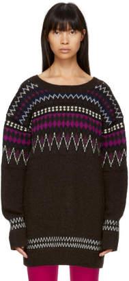Junya Watanabe Brown and Multicolor Jacquard Sweater