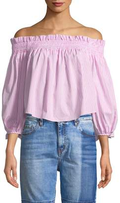 1st sight Women's Off-Shoulder Smocked Crop Top