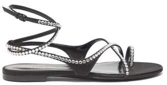 Saint Laurent Gia Crystal Embellished Wraparound Satin Sandals - Womens - Black Silver