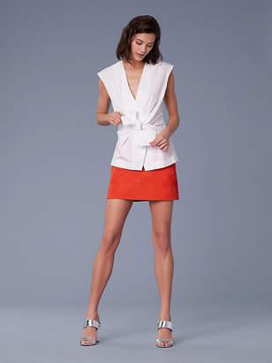 Diane von Furstenberg Sleeveless Cotton Waist Tie Blouse