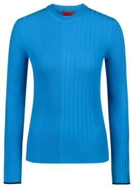 HUGO Boss Slim-fit sweater in a ribbed knit S Open Blue