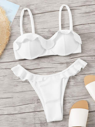 Shein Ruffle Trim Thin Strap Top With High Cut Bikini Set