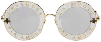 Gucci White LAveugle Par Amour Romantic Sunglasses