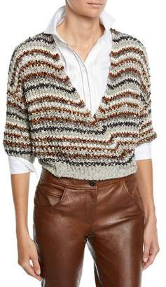 Brunello Cucinelli Sequined Striped Cotton-Net Crop Wrap Cardigan