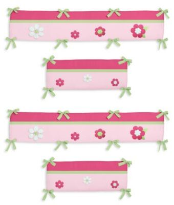 Sweet Jojo Designs Flower 4-Piece Crib Bumper in Pink/Green