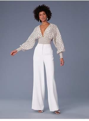 Diane von Furstenberg Long-Sleeve Smocked Blouse