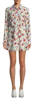 Veronica Beard Quince Floral-Print Tie-Front Shirt Dress