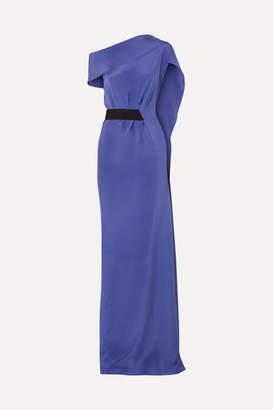 Roland Mouret Minton One-shoulder Silk-crepe Gown - Indigo