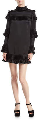 Frame Mock-Neck Long-Sleeve Satin Dress w/ Ruffled Frills