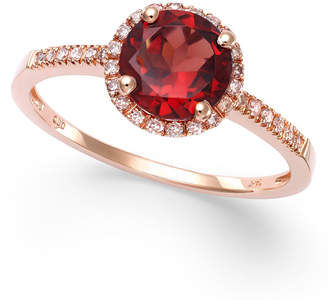 Macy's Garnet (1-3/8 ct. t.w.) and Diamond (1/8 ct. t.w.) Ring in 14k Rose Gold