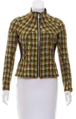 Junya Watanabe Faux Leather-Accented Tweed Jacket