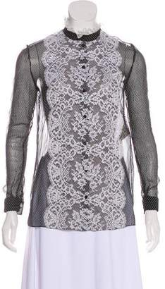Valentino Lace-Trimmed Silk Top