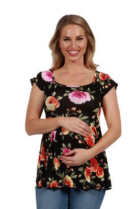 24/7 Comfort Apparel 24Seven Comfort Apparel Drew Black Floral Short Sleeve Maternity Tunic Top