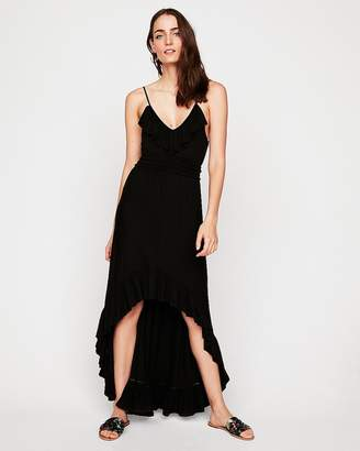 Express Ruffle Front Smocked Waist Maxi Dress
