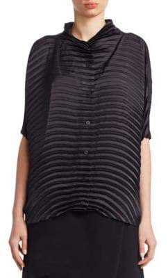 Issey Miyake Blossom Pleated Button-Down Top