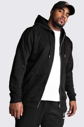 boohoo Big And Tall Basic Zip Through Fleece Hoodie