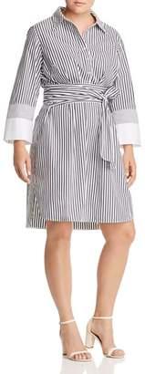 Lafayette 148 New York Plus Fabiola Striped Shirt Dress
