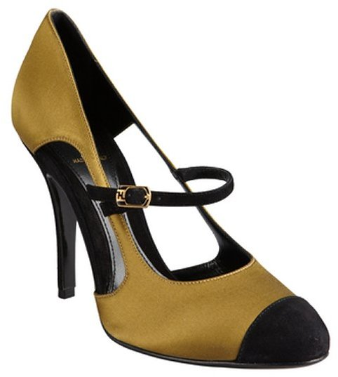 Fendi olive and black silk and suede cap toe mary janes