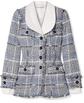 Alessandra Rich - Twill-trimmed Metallic Tweed Blazer - Light blue