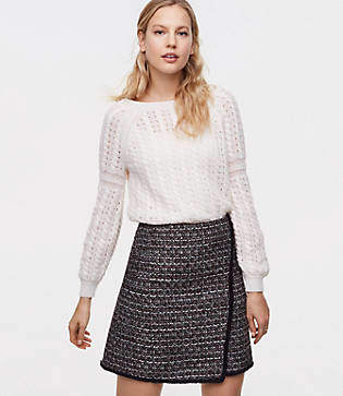 LOFT Fringe Tweed Wrap Skirt