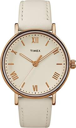 Timex Southview Women's Watch with Leather Strap – White/Rose Gold-Tone
