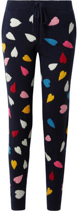 Chinti and Parker Confetti Heart Cashmere Track Pants - Midnight blue