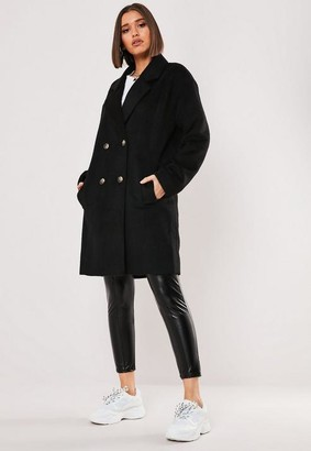 Missguided Black Contrast Horn Button Oversized Coat