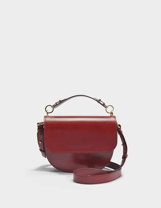 Sophie Hulme The Bow Bag in Brown and Burgundy Cow Leather and Python