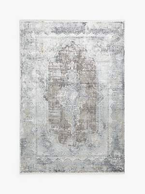 Camilla And Marc Gooch Oriental Distressed Medallion Rug, Silver, L120 x W180 cm