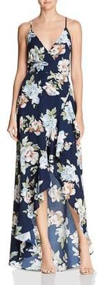 Aqua Floral Faux-Wrap Gown - 100% Exclusive