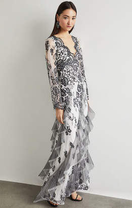 BCBGMAXAZRIA Asymmetrical Scalloped Lace Gown