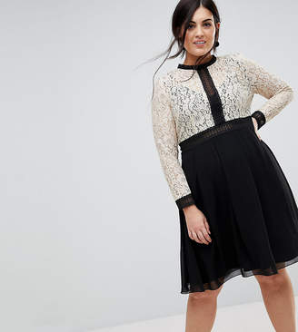Little Mistress Plus All Over Lace Top Dress With Prom Skater Skirt