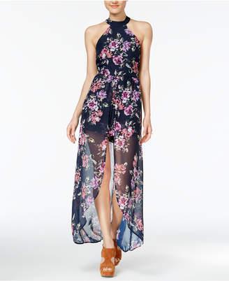 Crystal Doll Juniors' Floral-Print Romper Dress
