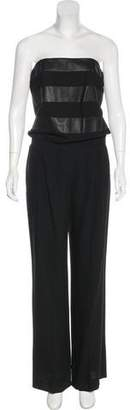 Jay Ahr Leather-Trimmed Virgin Wool-Blend Jumpsuit