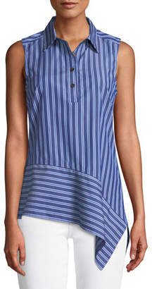 Derek Lam 10 Crosby Striped Asymmetrical Sleeveless Shirt