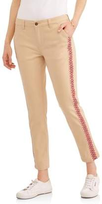 Cherokee Women's Capri Chinos with Embroidered Trim
