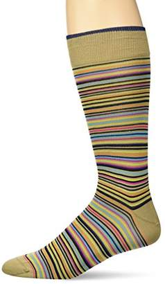 Bugatchi Men's Fashion Mercerized Cotton Multi Colorful Stripes Sock