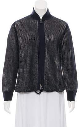 Akris Open Knit Cashmere-Blend Cardigan w/ Tags Navy Open Knit Cashmere-Blend Cardigan w/ Tags