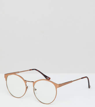clear ASOS DESIGN round glasses in brushed copper with lens